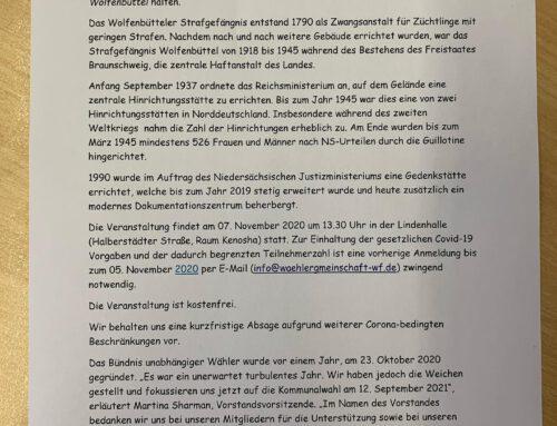 Bündnis unabhängiger Wähler gedenkt an NS-Opfer in Wolfenbüttel
