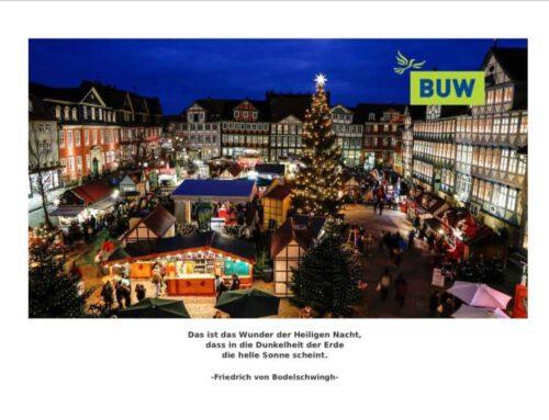 Wir wünschen allen Menschen in Wolfenbüttel frohe und friedliche Weihnachtstage und einen guten Start ins neue Jahr!