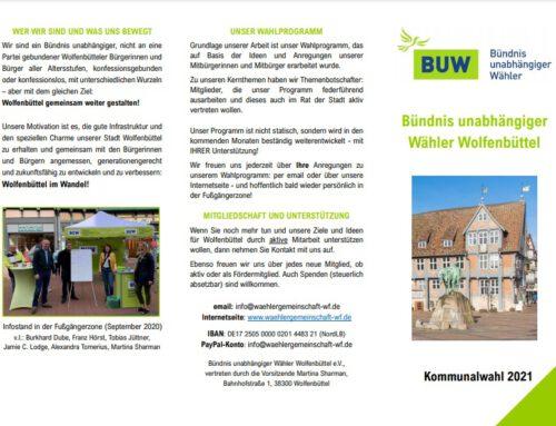 Flyer zur Kommunalwahl BUW Wolfenbüttel